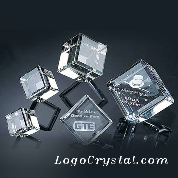 80mm (3 Inches) Laser Etched Beveled Crystal Cube
