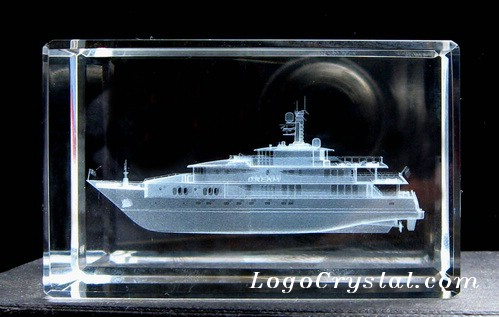 60x60x100mm Crystal Block With 3D Steamship Laser Etched