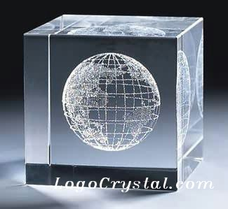 60x60x60mm Crystal Cube With Custom World Globe 3D Laser Etched