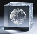 world globe laser engraved crystal cube paper weight