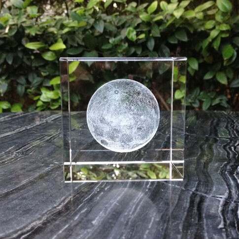 3D Moon Laser Ethed Crystal Cube - 50x50x50mm (2