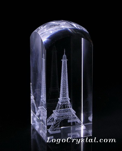 Eiffel Tower Laser Engraved Crystal Paperweight 50x5x10cm