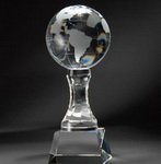 crystal globe award with arc column
