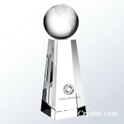 Crystal Globe Award With Tall Trapezoid Base 3D Laser Etched
