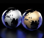 world globe paper weight made of blue crystal, fill in silver or gold color