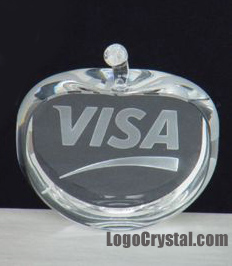 80mm Crystal Apple Paper Weight With Visa Logo Laser Etched