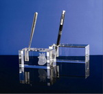 5x5x8cm rectangular crystal pen holder laser engraved