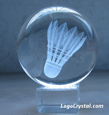3D Laser Etched Crystal Ball With Shuttlecock Laser Etched Inside