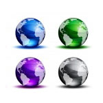 Varisized Coloreado Cristal Globos Globo Mundial