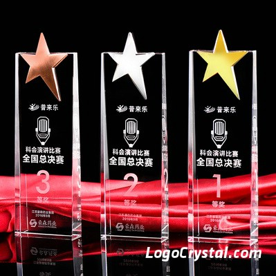 crystal glass golf award with 3d laser ecthed golfer