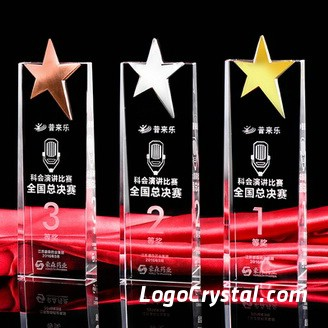 Custom Star Crystal Corporate Awards, 1st place gold, 2nd place silver, 3rd place bronze