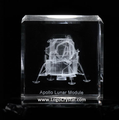 3D Laser engraved Apollo Lunar Module Crystal Glass cube, a beautiful NASA souvenir, and we can make custom souvenir also.