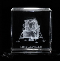3D Laser Apollo Lunar Module Engraved inside crystal cube