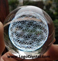 crystal ball with life of flower laser etched