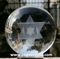 3D Laser crystal ball with merkaba lazer etched inside