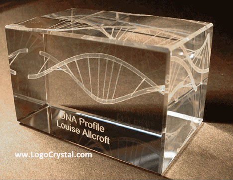 3D Laser glass cube with DNA chain laser etched inside