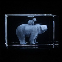 Polar bear 3d laser crystal glass block