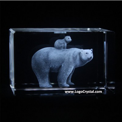 3D Laser crystal cube with Polar bear and little bear etched inside, we can engrave other animal designs inside also.