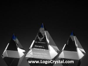 3D Laser crystal glass pyramid with custom corporate logo laser etched inside, custom design is available.