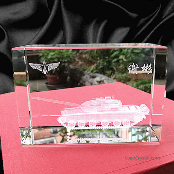 Retirement Memorial, 3D Laser Etched Crystal Tank Model, Creative Internal Sculpture, Customized Decoration, Comrade Gift, Custom Design Available.