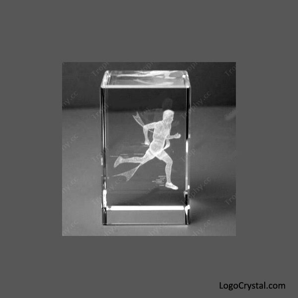 3D Laser Engraved Crystal Cube With A Runner Laser Etched Inside, 3D Laser Etched Crystal Running Trophy, 3D Laser Engraved Glass Running Awards, Custom 3D Laser Athletic Awards.