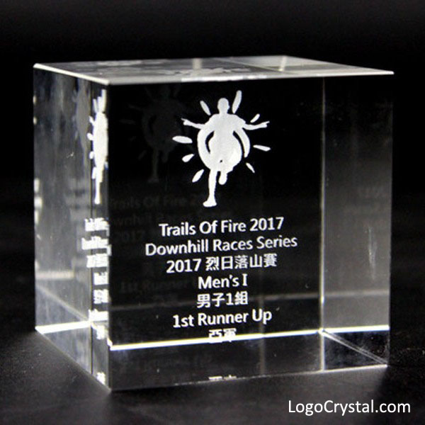 60MM (2.35 Inches) 3D Laser Etched Crystal Cube With Corporate Logo And Text Engraving