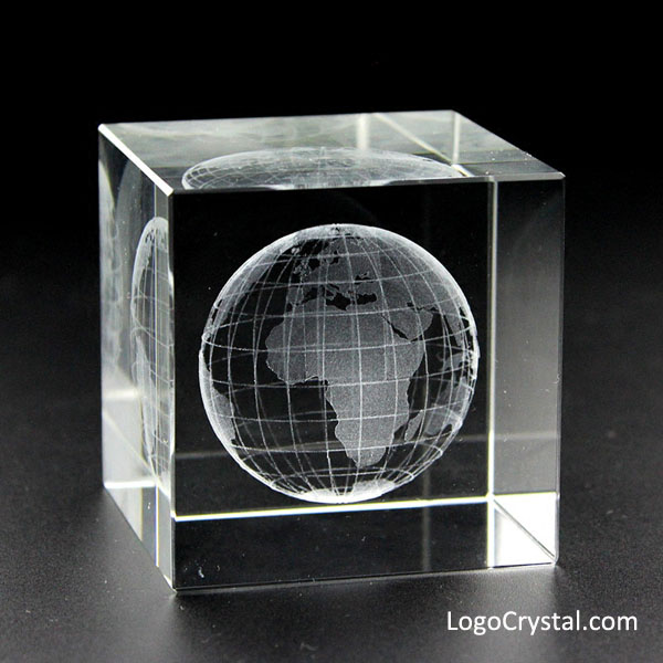 50mm (2 inches) Crystal Cube With 3D World Globe Laser Etched Inside