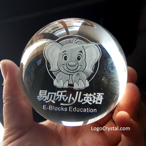 "60mm (2.35"") Crystal Ball With Custom 3D Artwork and Text Laser Etched"
