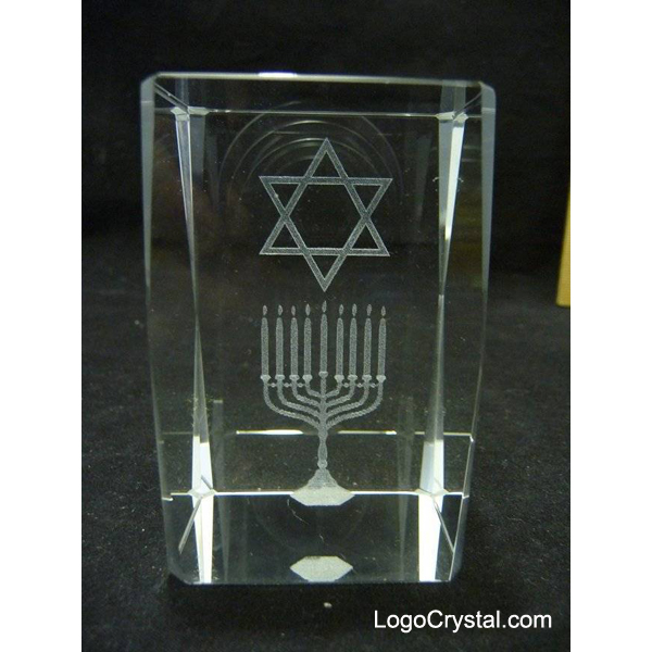 Star Of David Crystal Memento 3-D Laser Etched, Israel Crystal Glass Gifts.
