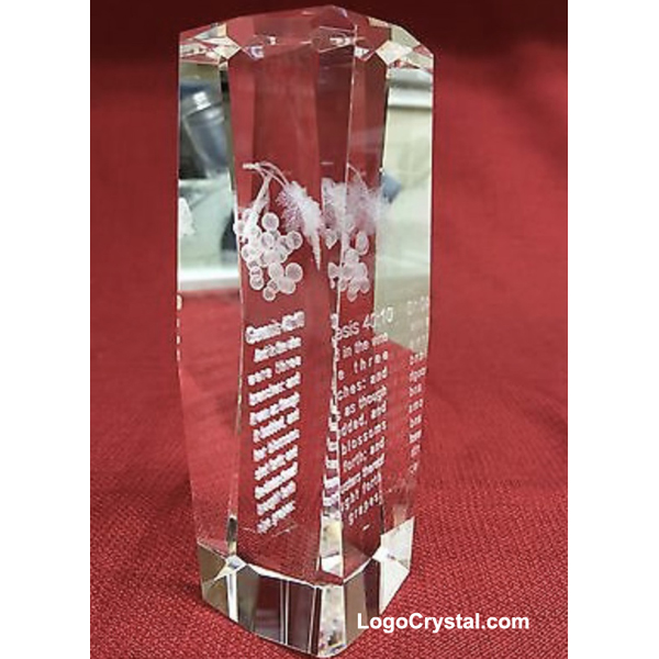 """Eight-square 3-D Laser Crystal Glass Cube Award With A Bunch Of Grapes Engraved (8"""" Height)"""