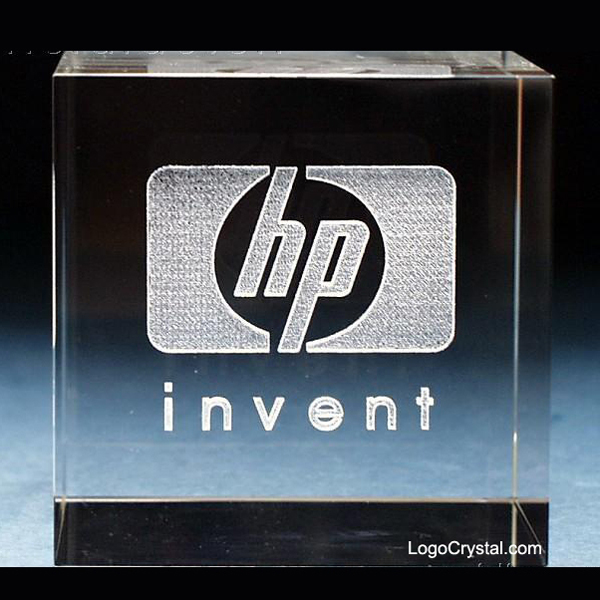 HP Logo Laser Etched Crystal Cube Award Trophy, Hewlett-Packard Logo Engraved Crystal Gifts
