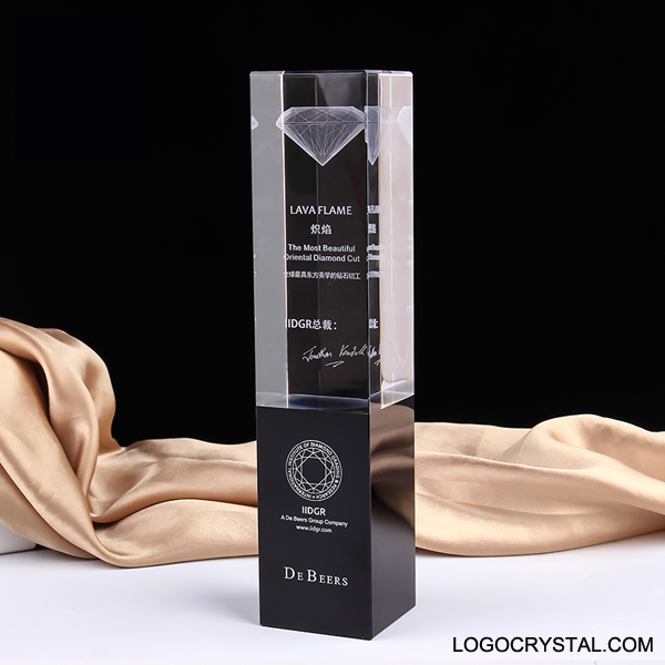 Black Rectangle Tower Crystal Trophy Award With TOP 3D Laser Etched Logo Or Company Design