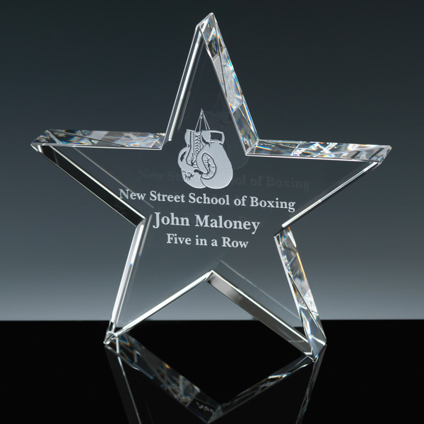 Optic Crystal Glass Star Paper-weight custom Laser Etching, Corporate Crystal Award with Star Design