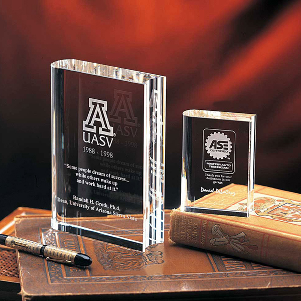 3D Crystal Book Award Laser Engraving, USC School Gifts, 3D Laser Crystal College Gifts