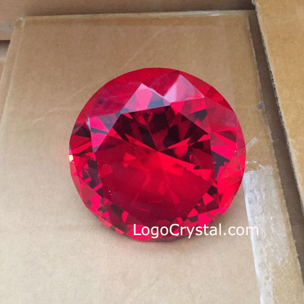 Ruby red crystal diamond, red glass diamond paperweight, red colored gemstone crystal