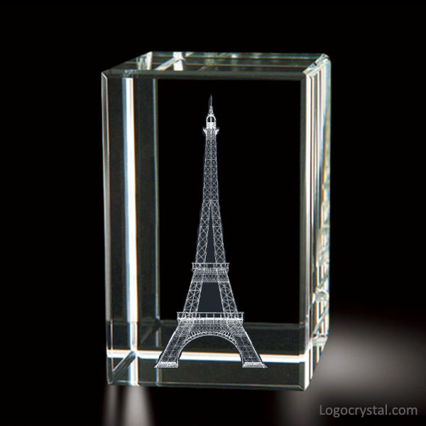 3D Laser Kristallblock mit Paris Eiffelturm Laser graviert, 3D Laser Glas Eiffelturm Souvenirs, 3D Laser Radierung Kristall Eiffelturm