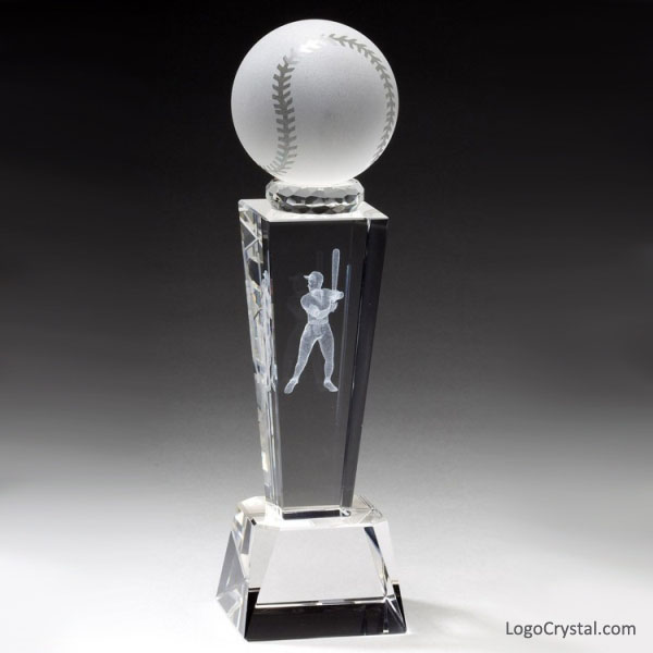 Prix 3D Laser Cristal de baseball avec différentes tailles et conceptions, Trophées 3D de baseball en verre laser, Prix sportif de baseball, etc.