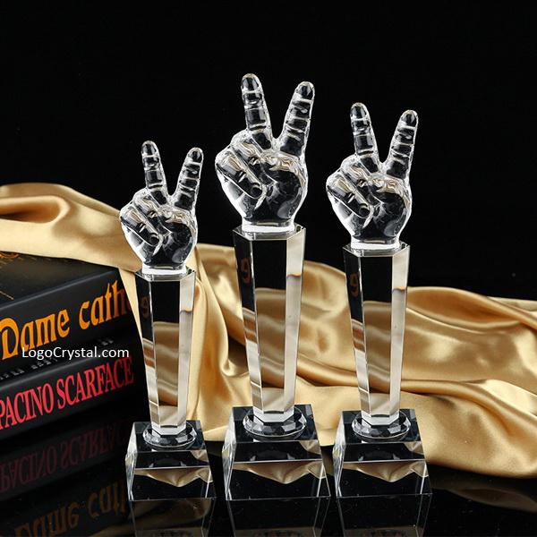 """12"""" Trophée des voix américaines de cristal optique, prix du microphone de coupe vocale de qualité supérieure"""