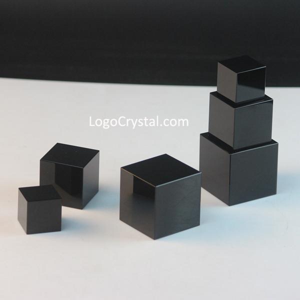 Cristaux noirs en cristal, Cubes en cristal noirs K9, Cubes en cristal optiques noirs