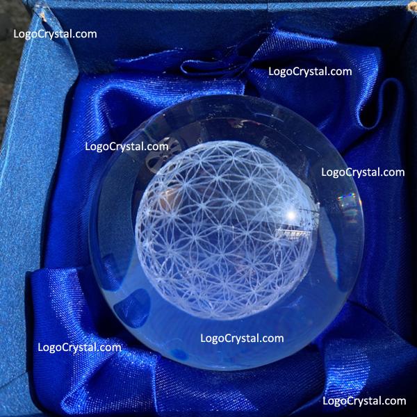 Boule de cristal de fleur de vie, boules en verre optiques avec la fleur de vie de 3D gravée au laser à l'intérieur, le globe de cristal de fleur de vie