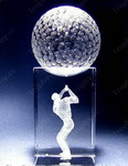 3d laser etched crystal glass golfer trophy awards