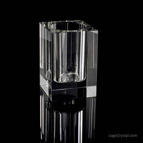 Incisione personalizzata per portapenne rettangolare in cristallo disponibile