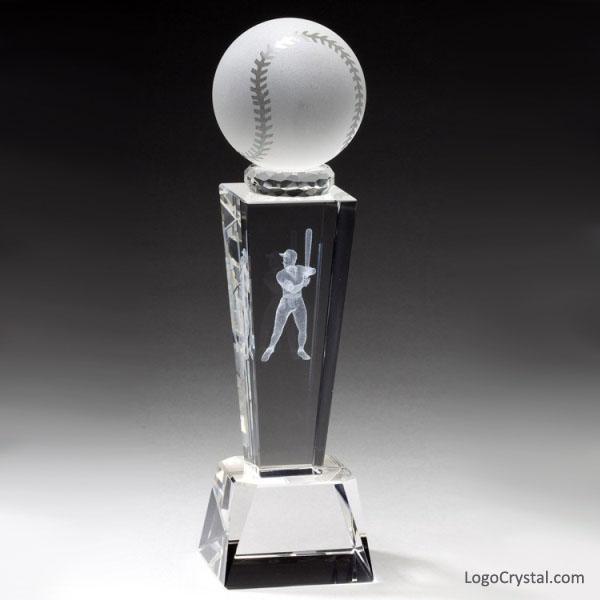 Crystal Baseball Trophy Award Custom Laser Etched