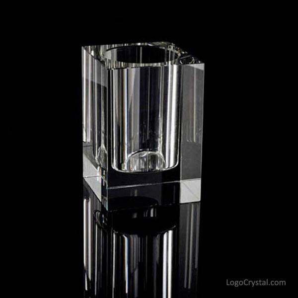 Crystal Cubic Pen-holder Custom Etching Available.