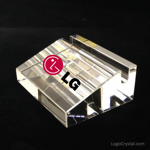 Crystal Business Name Card Holder With LG Logo Printed