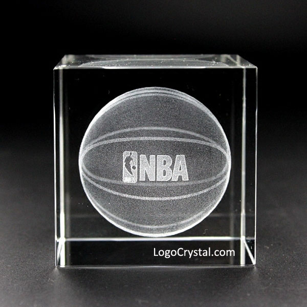 70mm (2.75 inches) Crystal Cube With Custom NBA Logo Laser Etched Inside