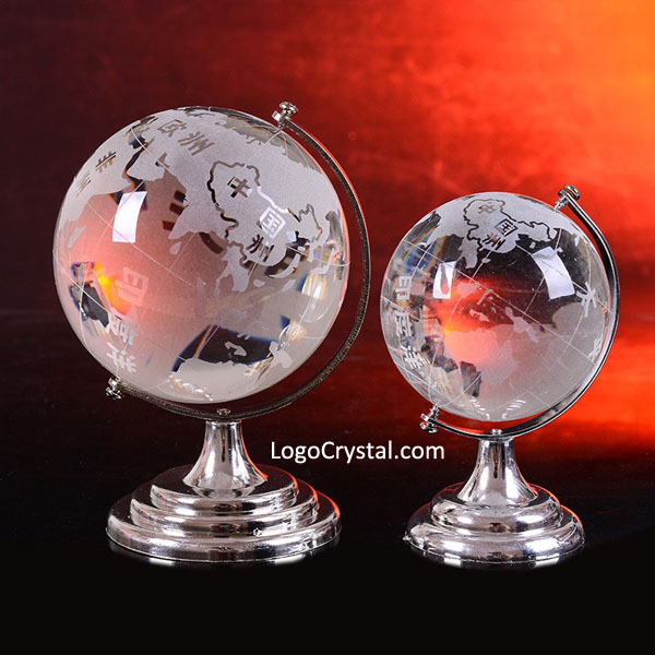 "70mm (3.15"") Crystal Globe Paperweight With Silver Metal Stand At The Bottom"