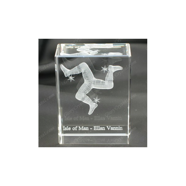 3D Laser Engraved Crystal Cube With Isle of Man Design, Three Legs Laser Etched Crystal Cube, Mann Island Souvenirs