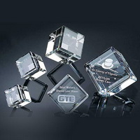 3 inches beveled crystal cube with 3d laser engraving