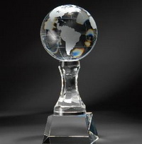 globe crystal coporate award
